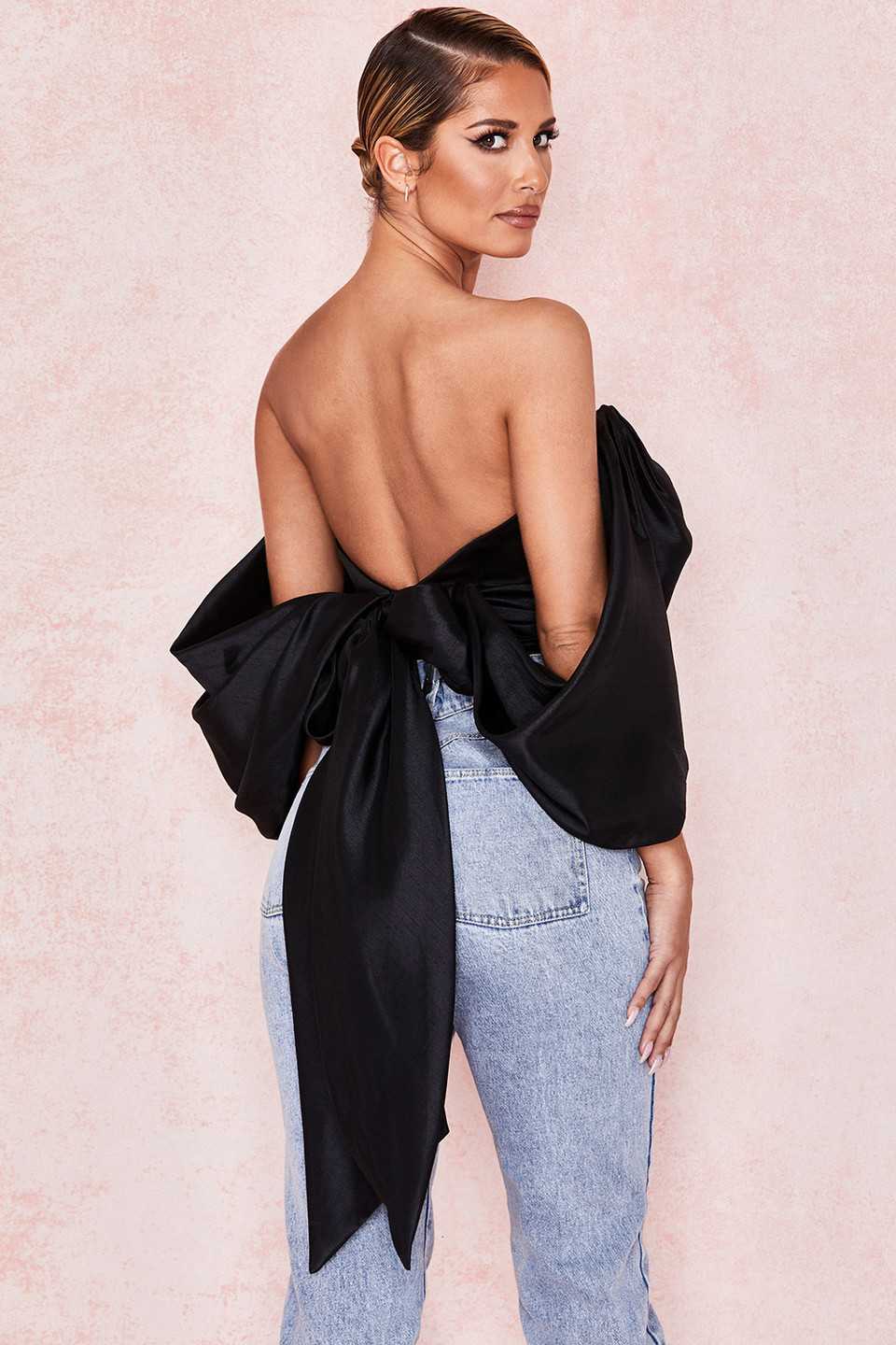 Elisetta Black Satin Plunge Off Shoulder Bustier