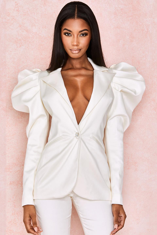 Kamaria Ivory Satin Crystal Button Jacket