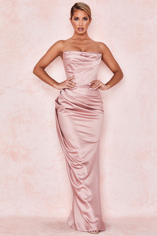 Adrienne Blush Satin Strapless Gown