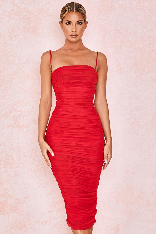 Sirene Red Gathered Organza Mesh Dress