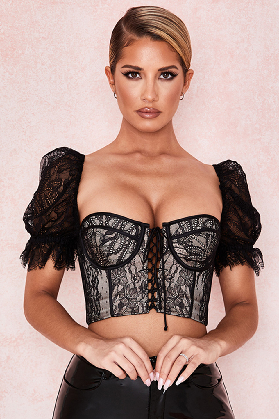 Susana Black Lace Corset Top