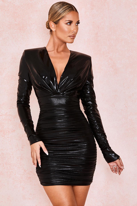 Zandra Black Metallic Deep V Ruched Dress