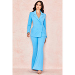 Erika Blue Crepe Flared Trousers