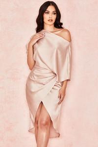 Alameda Blush Satin Draped One Shoulder Dress