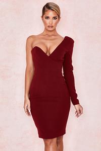 Caprice Wine One Shouldered Dress