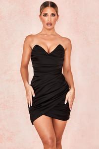 Emanuela Black Draped Ruched Mini Dress