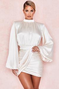 Khristen Ivory Satin Blouson Dress