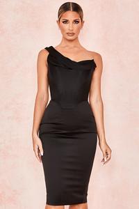 Raphaella Black Stretch Satin Corset Dress