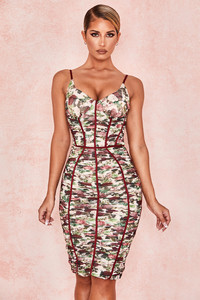 Sable Vintage Floral Ruched Corset Dress