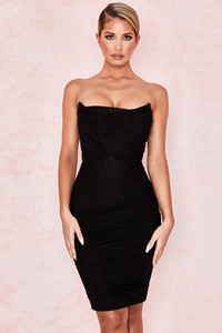 Leila Black Mesh Strapless Corset Dress