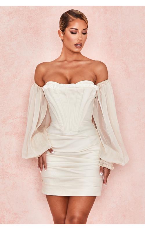 Beau Ivory Draped Corset Dress