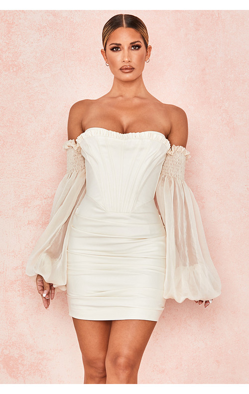 Beau Ivory Draped Corset Dress
