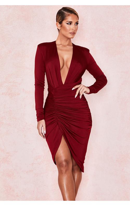 Ida Wine Ruched Wrap Dress