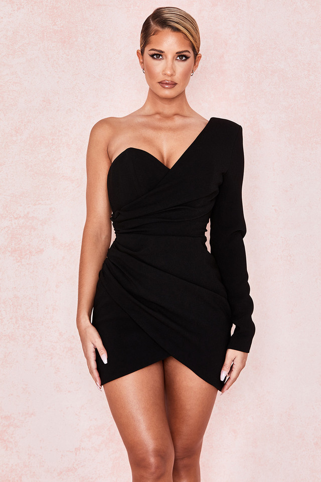 Anamaria Black Asymmetric Mini Dress