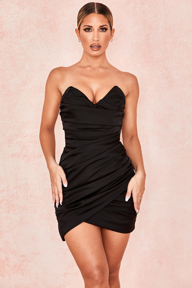 Emanuela Black Draped Ruched Mini Dress