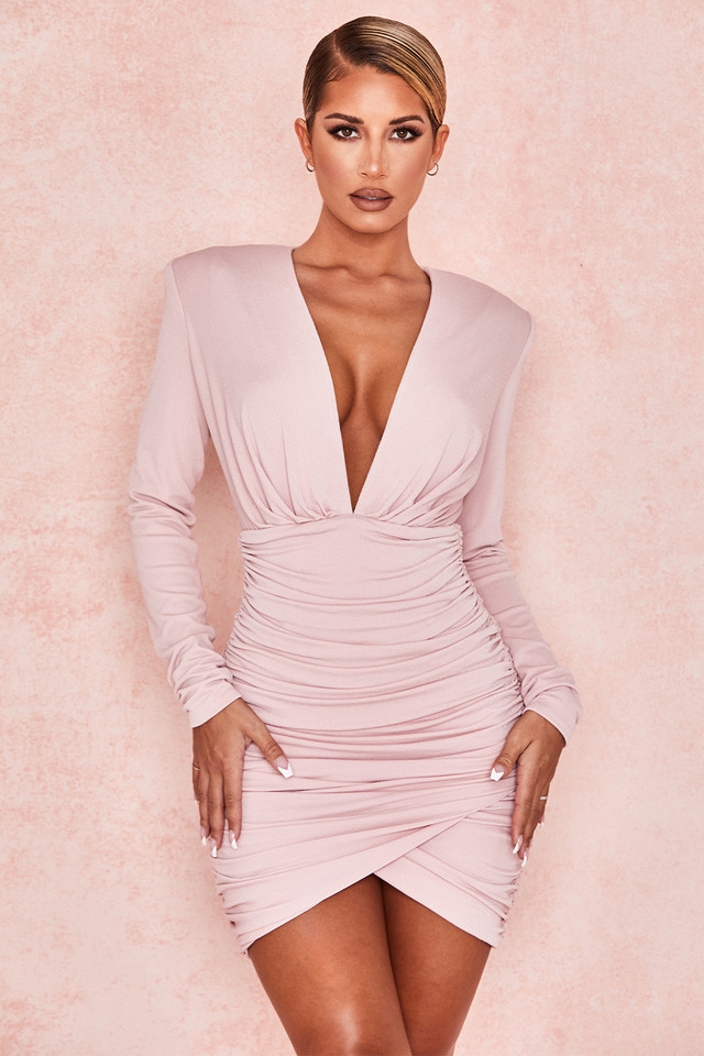 Gigiana Blush Plunge Neck Dress