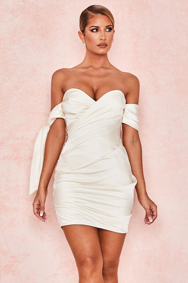 Joy Ivory Satin Off Shoulder Tie Dress