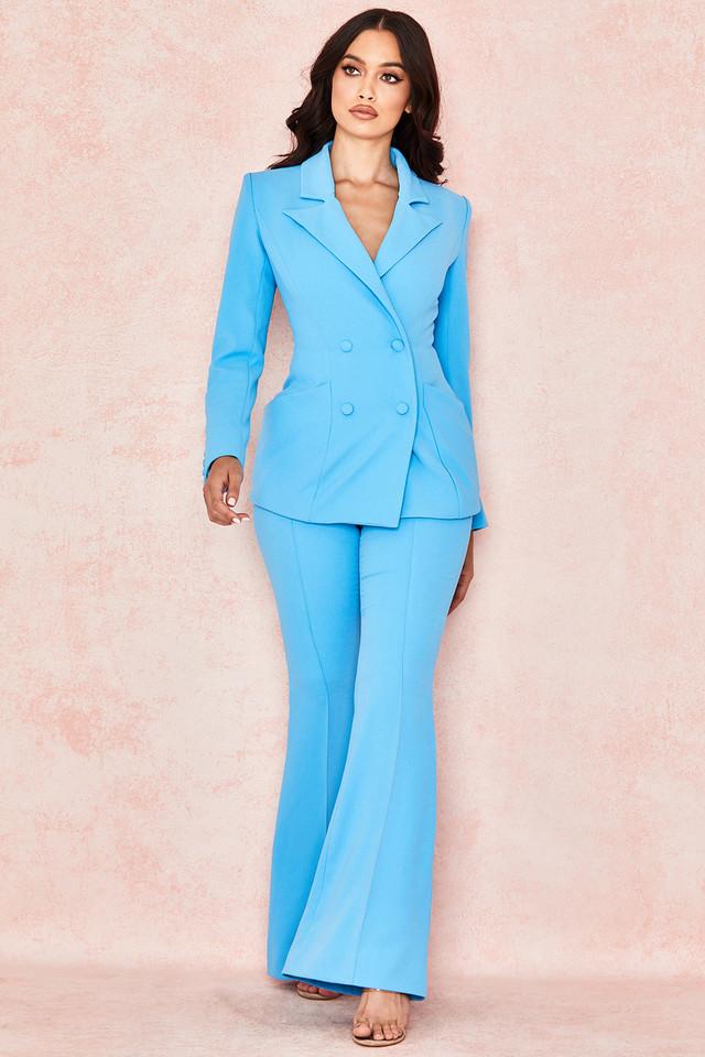 Erika Blue Crepe Flared Trousers