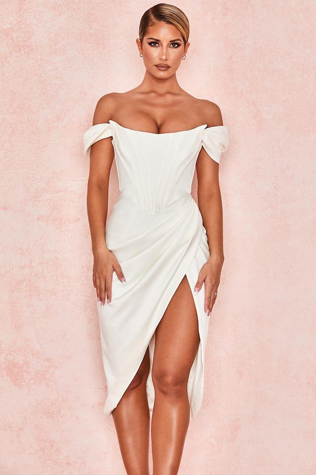Loretta Ivory Satin Off Shoulder Dress