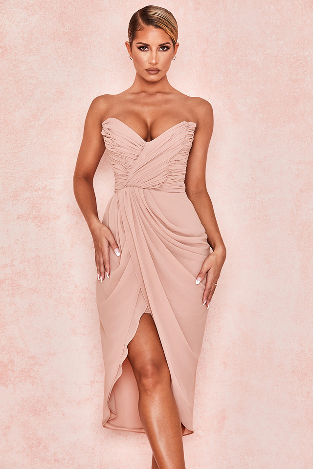 Lula Blush Gathered Georgette Dress