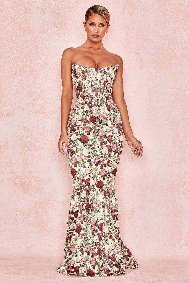 Malika Vintage Floral Strapless Corset Dress