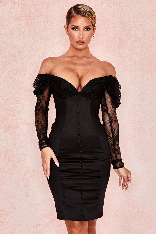 Dominique Black Off Shoulder Corset Dress