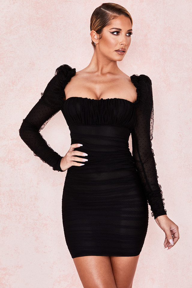 Camille Black Gathered Puff Sleeve Dress