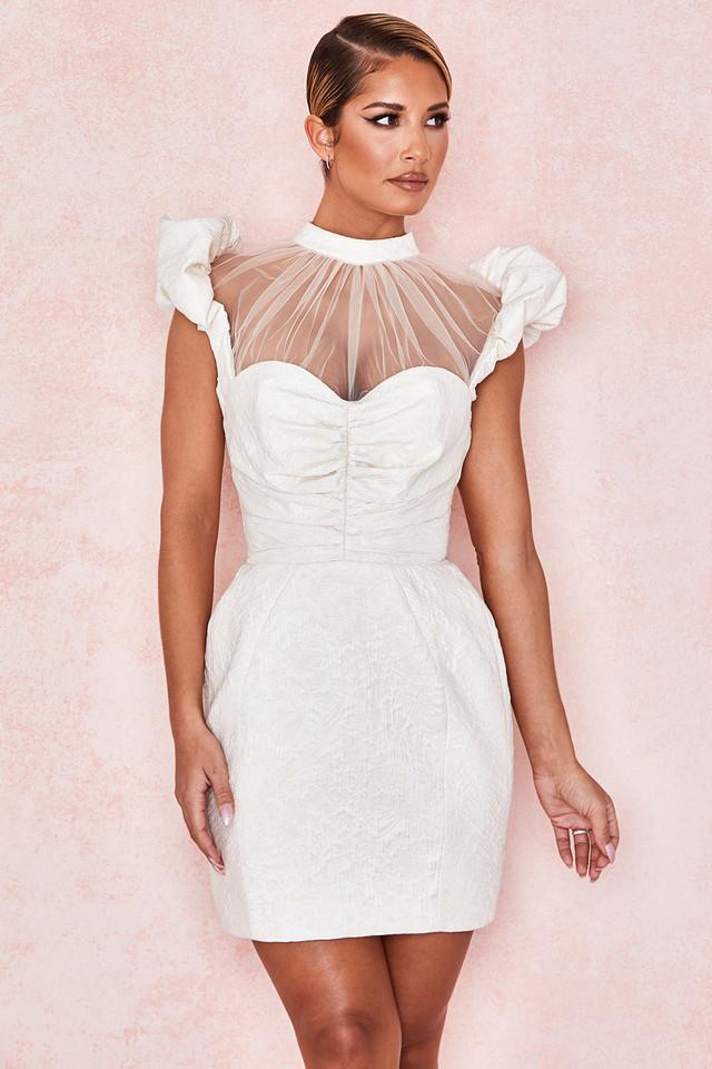 Cherelle Ivory Jacquard Puff Sleeve Dress