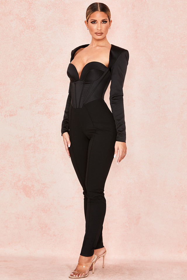 Zoey Black Satin Corset Jumpsuit