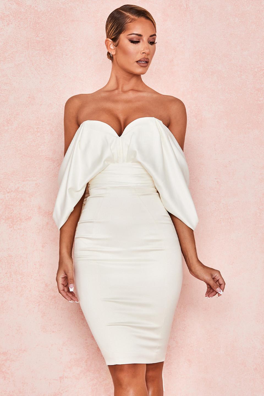 Aisha Ivory Satin Strapless Dress