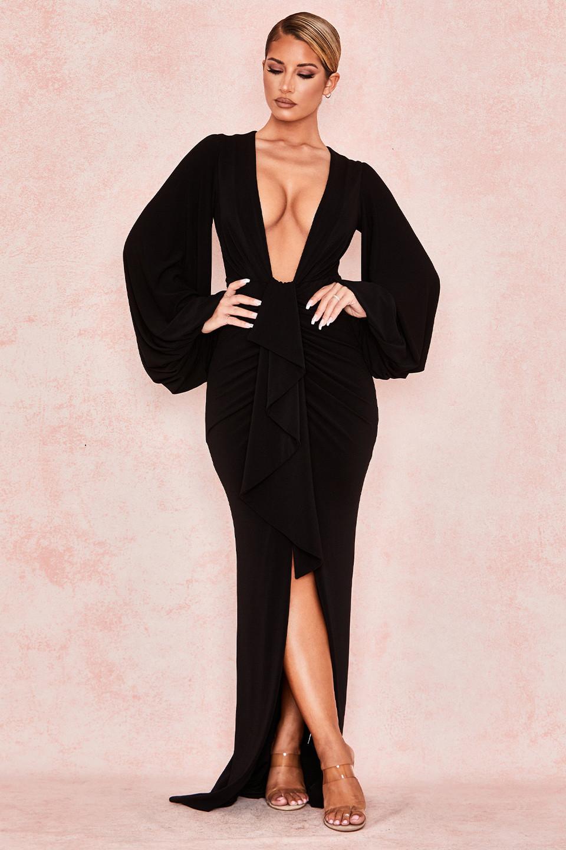 Alexandra Black Balloon Sleeve Maxi dress