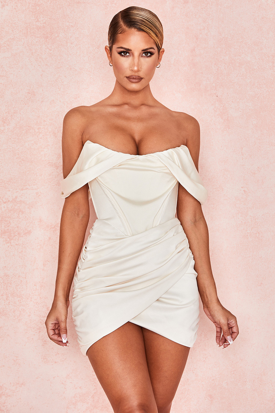 Coraline Ivory Satin Corset Dress
