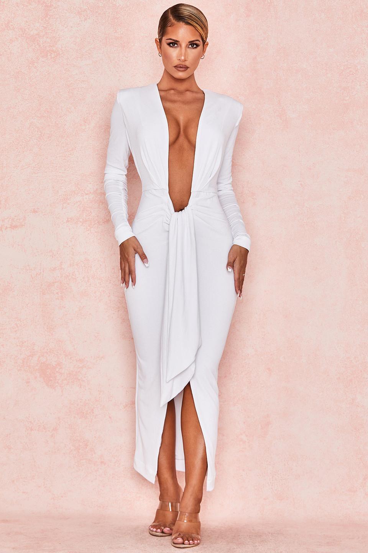 Juliette White Jersey Plunge Neck Midi Dress