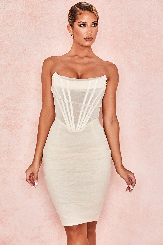Leila Ivory Mesh Strapless Corset Dress