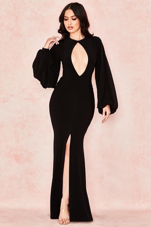 Marciella Black Backless Balloon Sleeve Maxi Dress