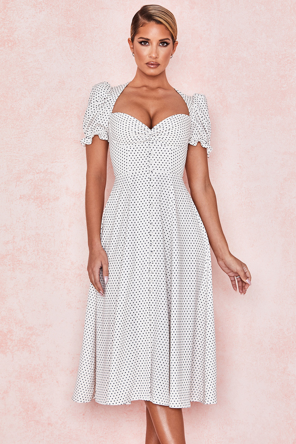 Ellery Polka Dot Puff Sleeve Midi Sundress
