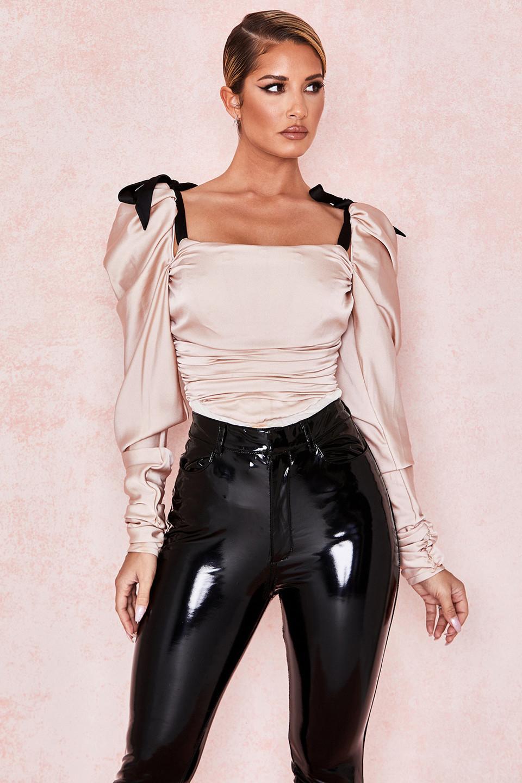 Almaz Champagne Puff Sleeve Bodysuit