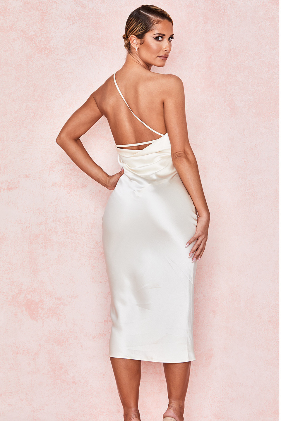 Nikita Ivory Satin One Shoulder Dress
