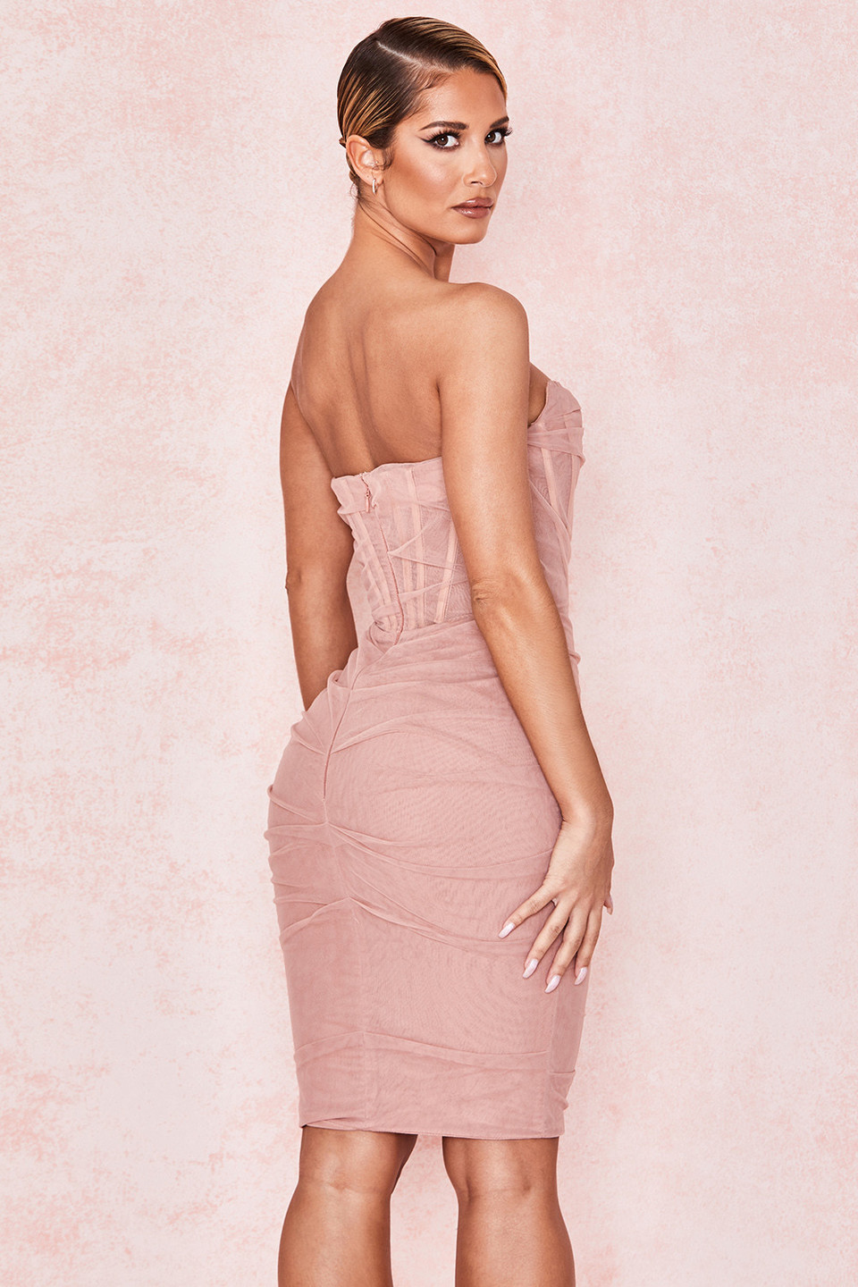 Leila Blush Mesh Strapless Corset Dress