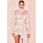 Samia Blush Heavy Satin High Necked Draped Dress
