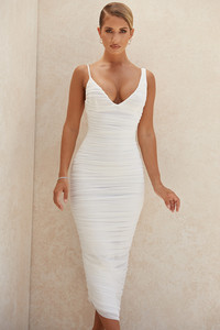 Alexia White Ruched Midi Dress
