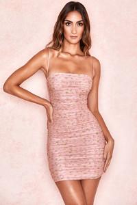 Ella Pink Floral Ruched Organza Mesh Mini Dress