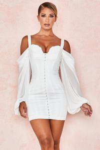 Eva White Corset Dress with Blouson Sleeves