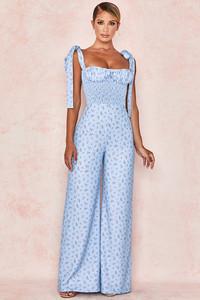 Lana Blue Floral Shirred Jumpsuit