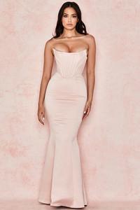 Malika Pale Blush Strapless Corset Gown