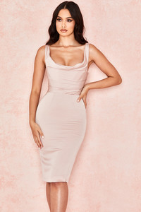 Micaela Blush Draped Corset Dress