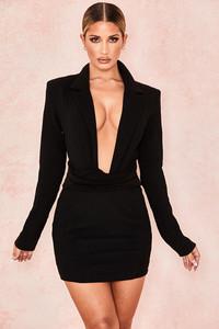 Regina Black Tuxedo Dress