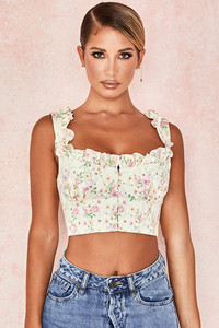 Remy Lemon Floral Corseted Cropped Top