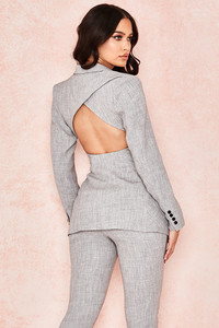 Roseau Grey Open Back Tailored Jacket