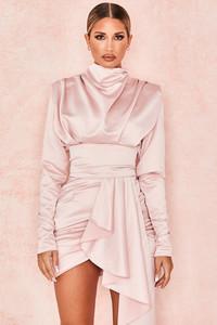 Samia Blush Heavy Satin High Necked Draped Dress